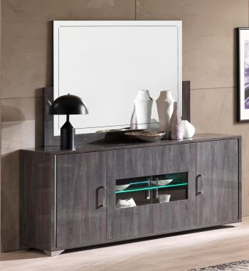 grey high gloss sideboard LED light mirror