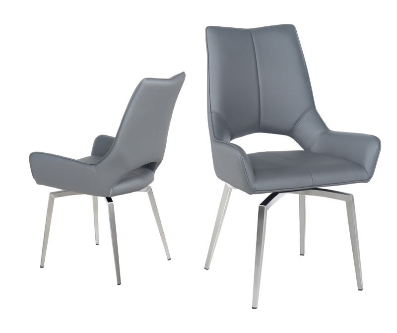 save off 1bc3d 62845 Spinello Swivel Leather Dining Chair in Grey
