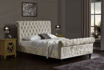 oyster crushed velvet bed