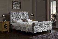 silver crushed velvet chesterfield bed