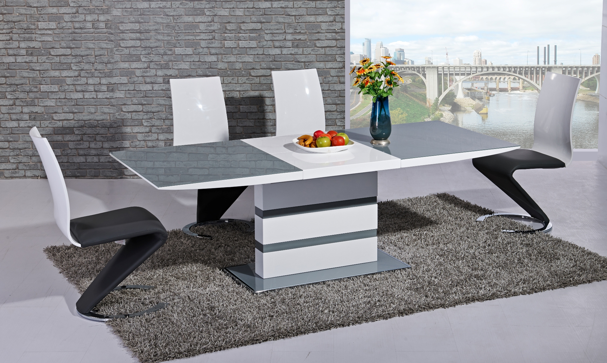 Arctic Grey & White EXT Table DTX-1104 or DTX-2104 & Leona GR&WH Chair CH6736