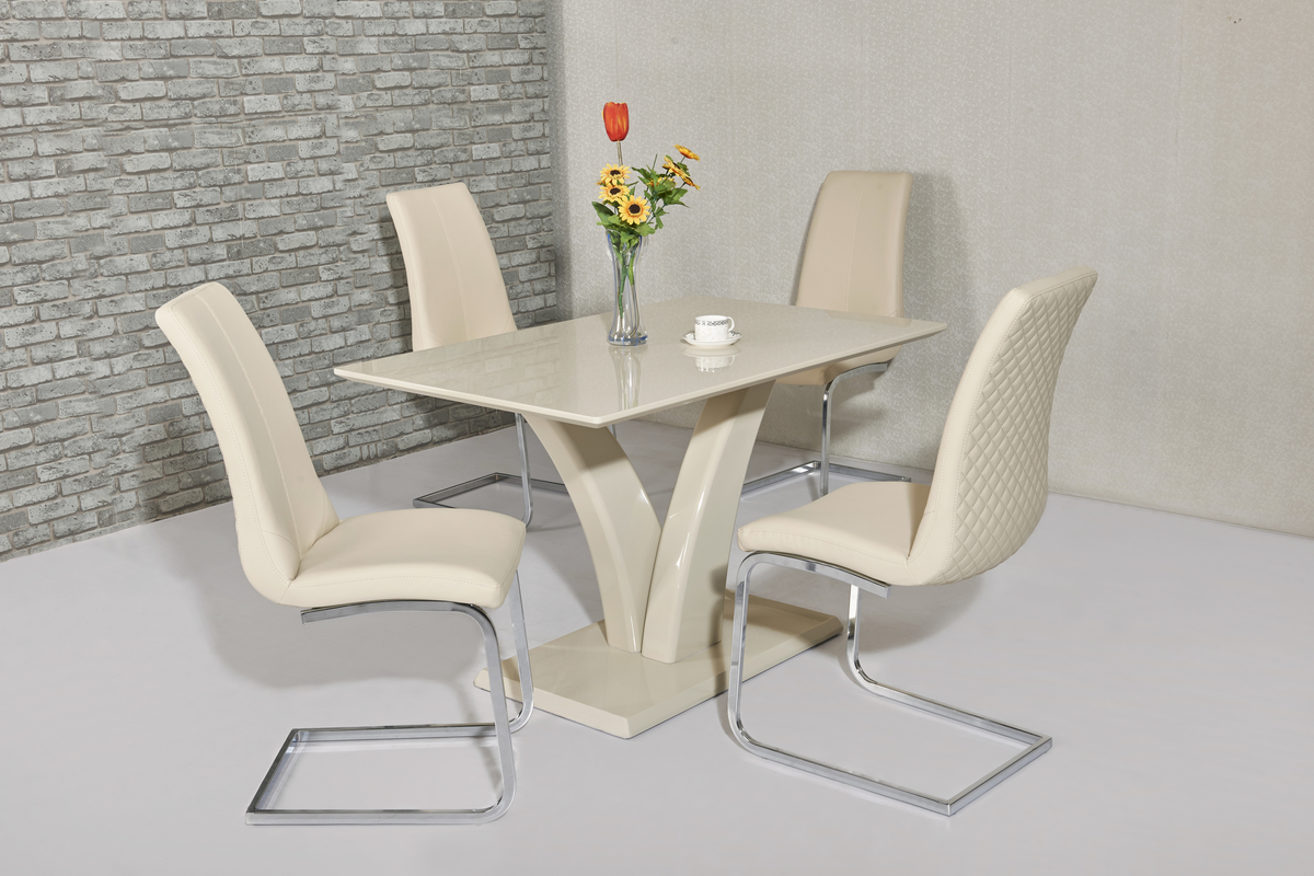 Eliza Cream Table DT-700CR & Kelcy Cream Chair CH-998CR