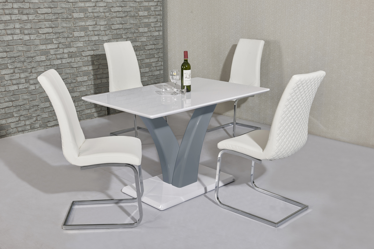 Eliza Grey & White Table DT-700GR & Kelcy White Chair CH-998WH