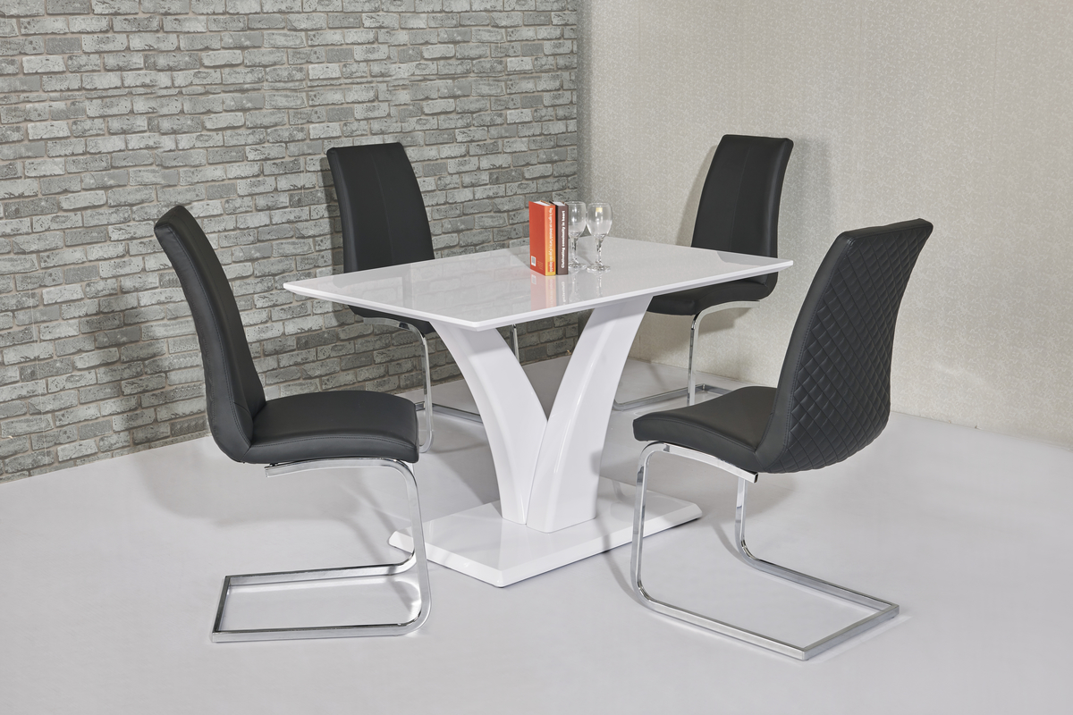 Eliza White Table DT-700WH & Kelcy Black Chair CH-998BL