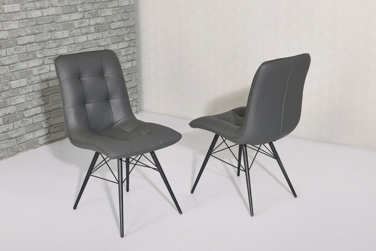 Hix Grey Leather Dining Chairs