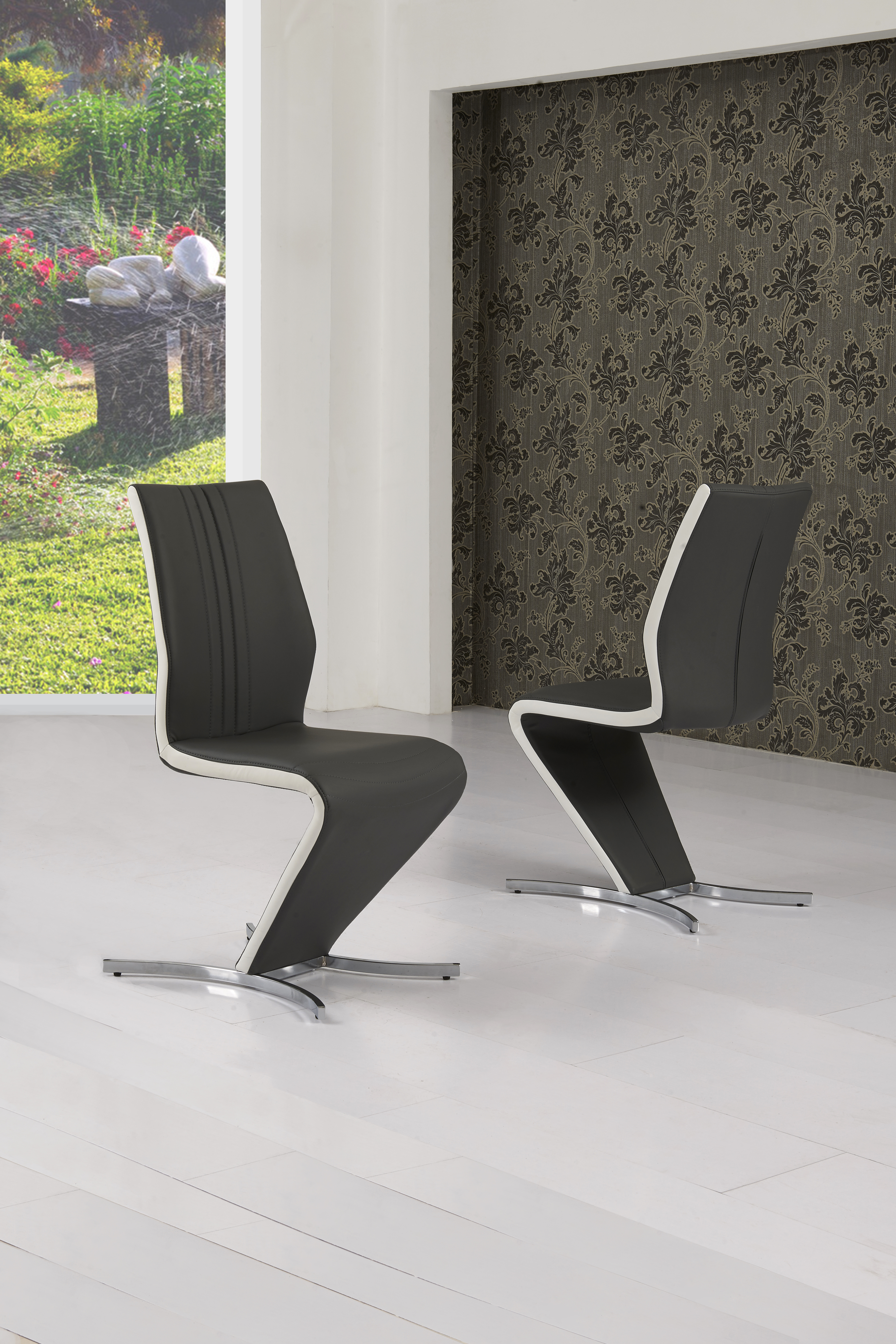 Isabella Grey & White Strip Chair CH-601GR
