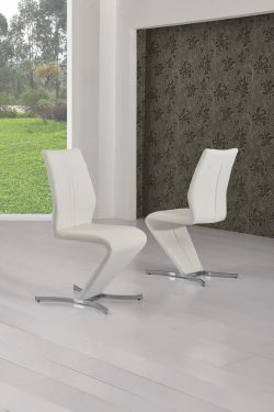Pair Of Two Grey Amp White Leather Dining Chairs Free Delivery