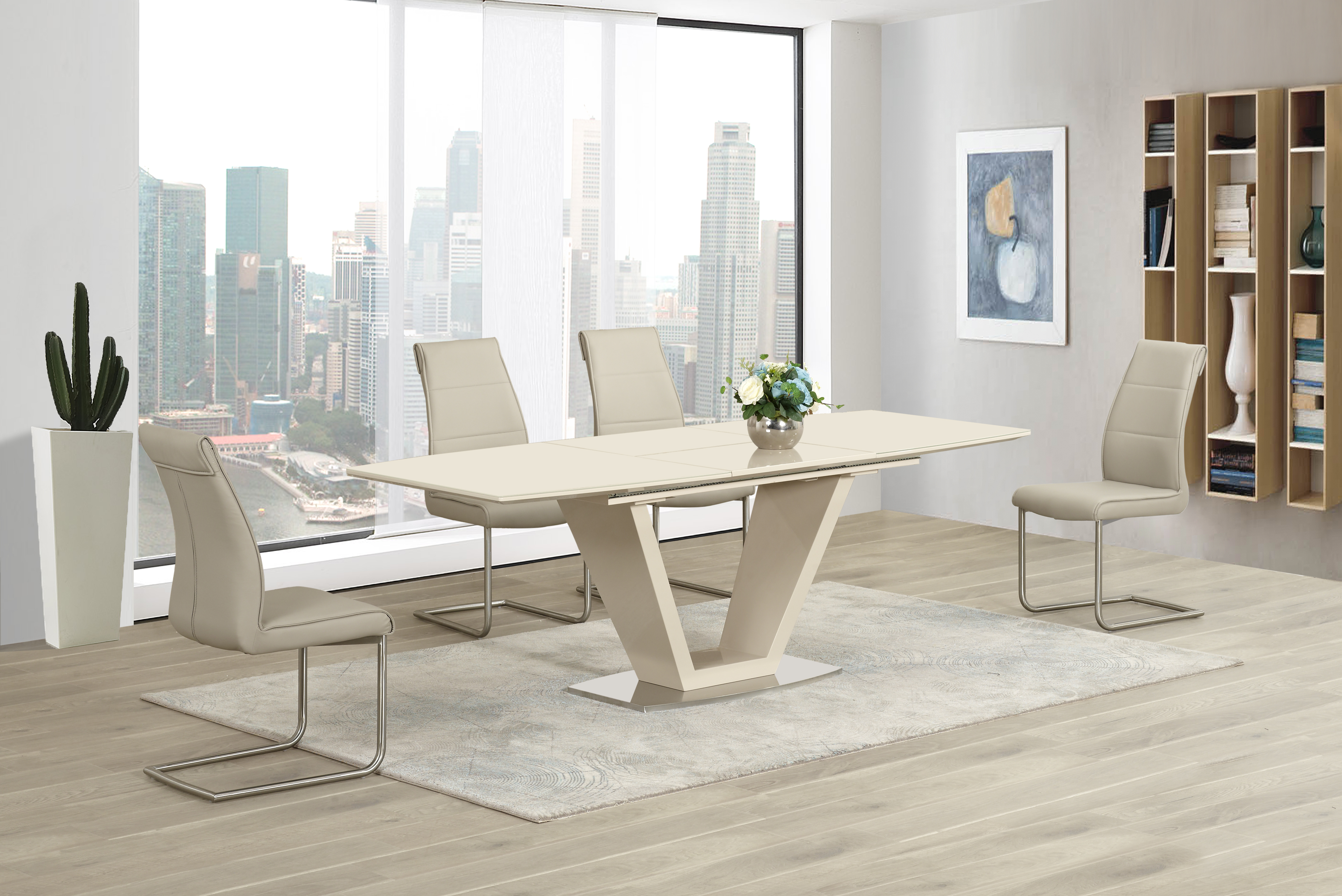 Lorgato Cream EXT Table DTX-2135 & Zayno Taupe Chair CH-6652