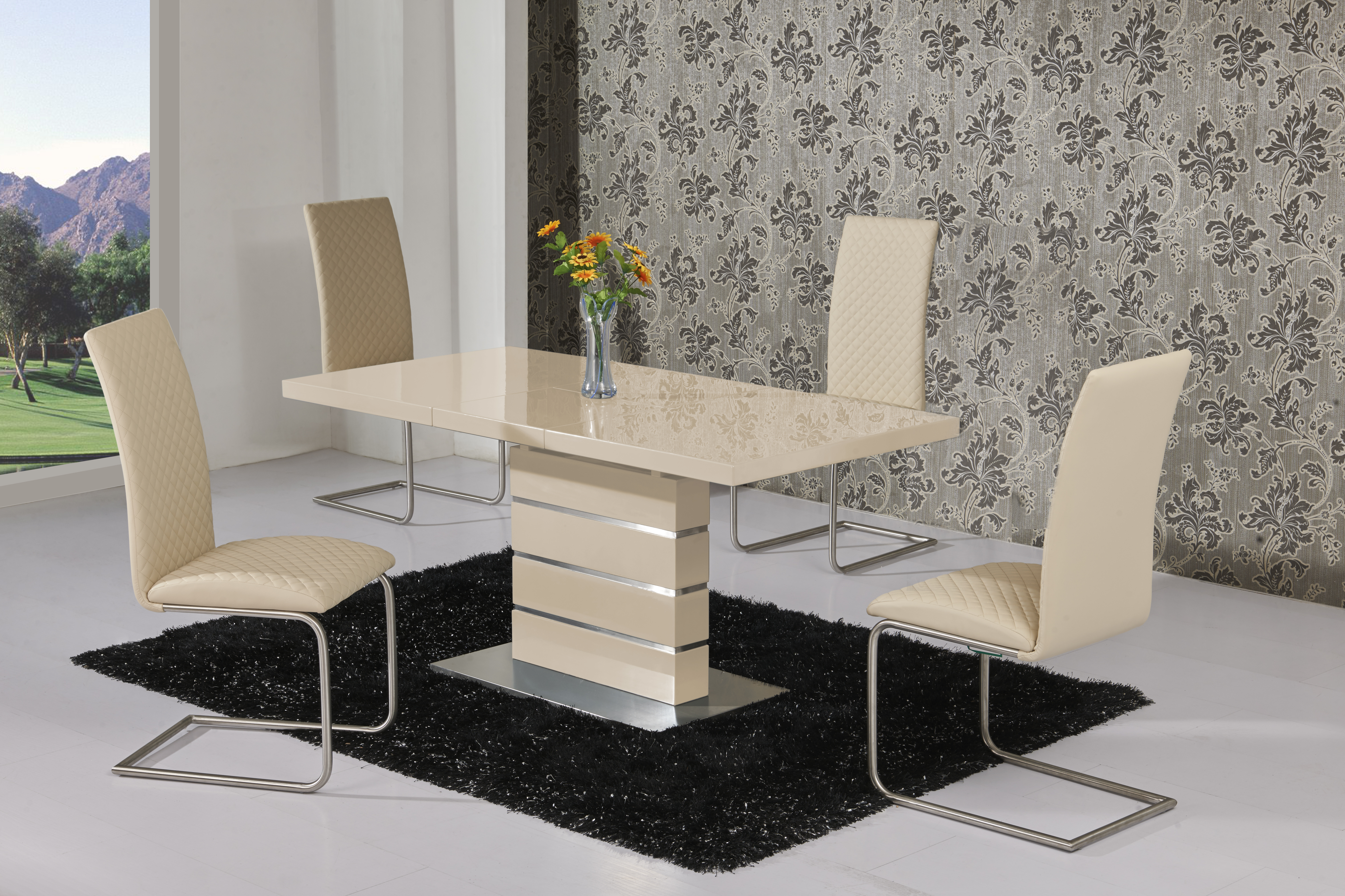 Maysan Cream EXT Table DTX-5501 & Mulliner Cream Chair CH-5024