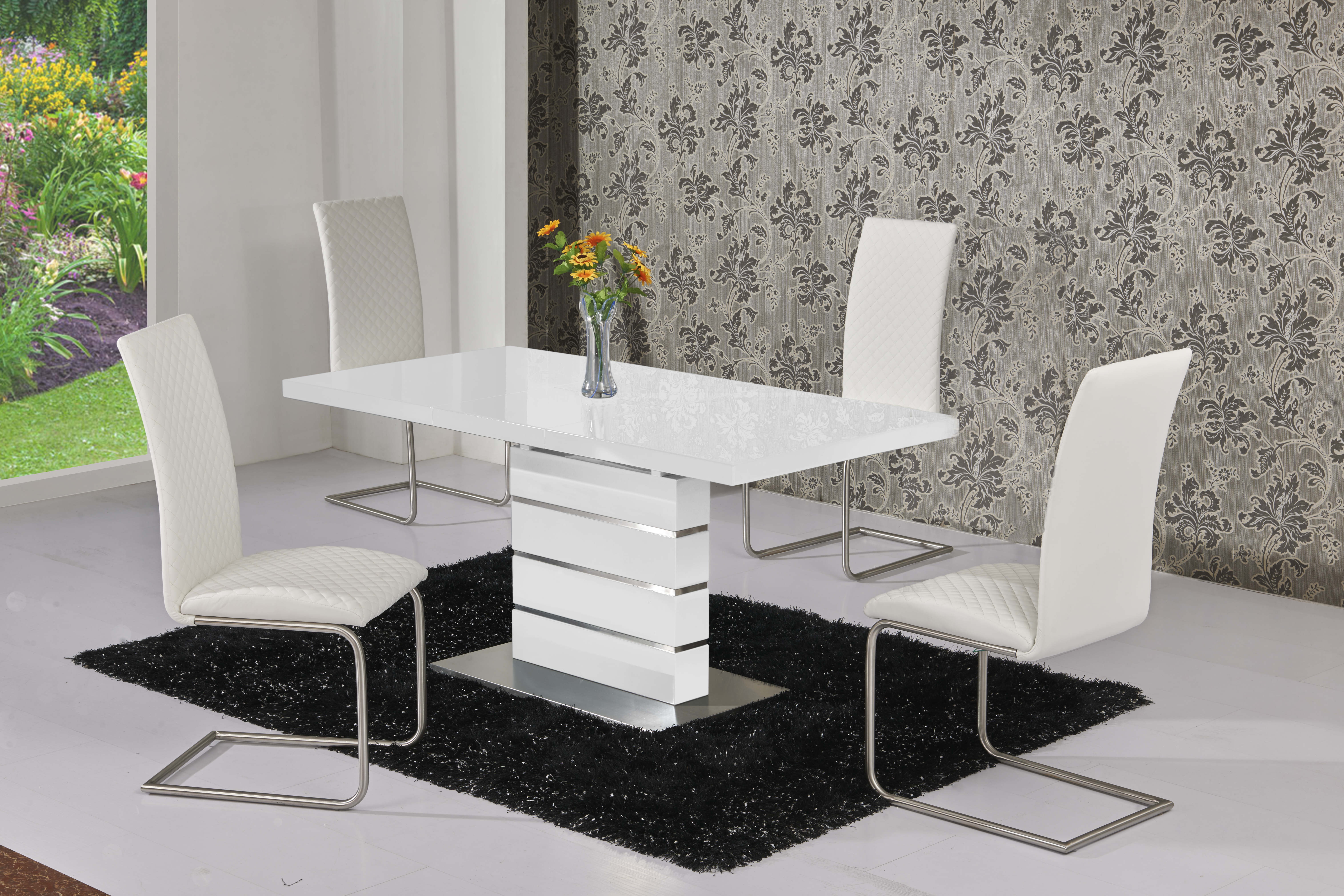 Maysan White EXT Table DTX-5501 & Mulliner White Chair CH-5024