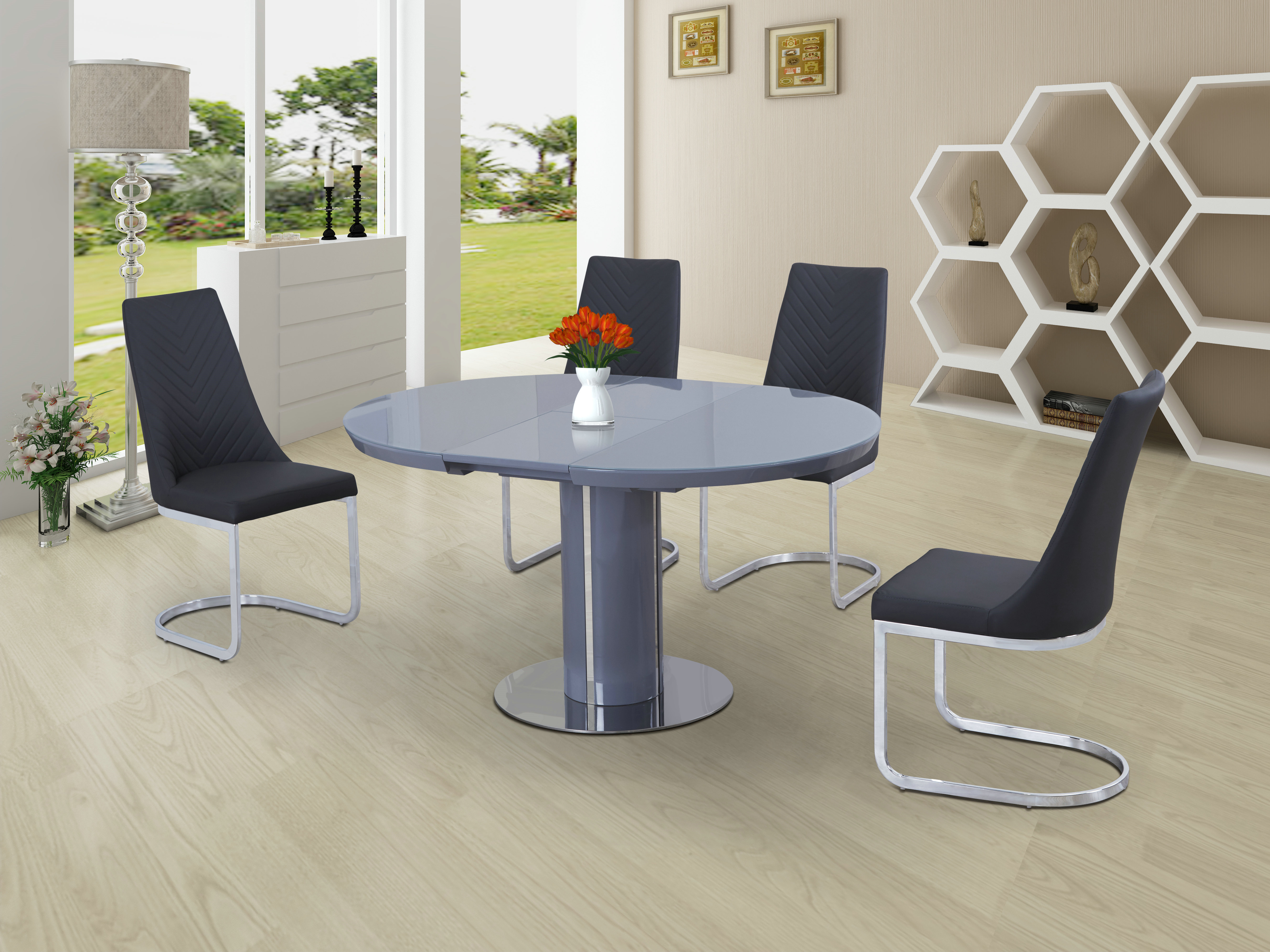 Orban Round Grey Extending Dining Table Free Delivery