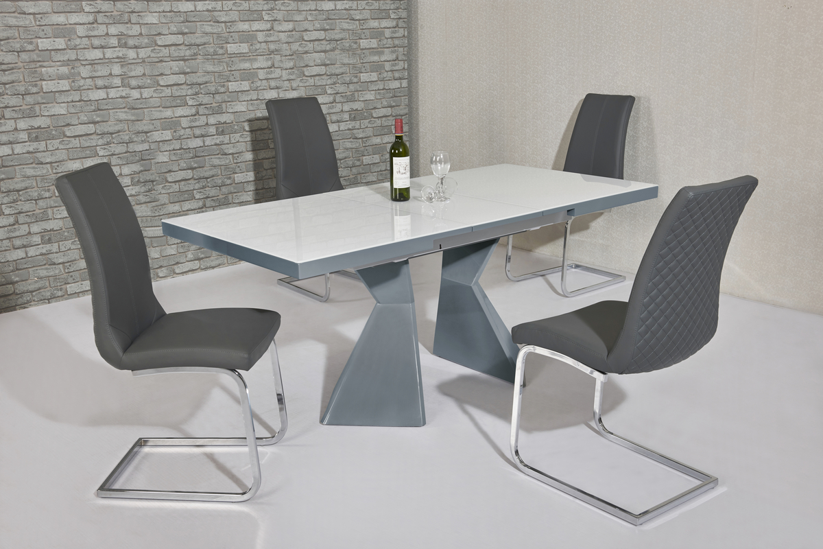 Roselle Grey & White EXT Table DTX-6600GR & Kelcy Grey Chair CH-998GR