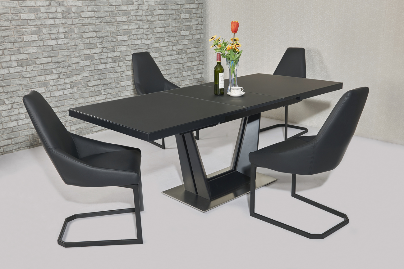 Serena Black EXT Table DTX-6629BL & Avanti Black Chair CH-812BL