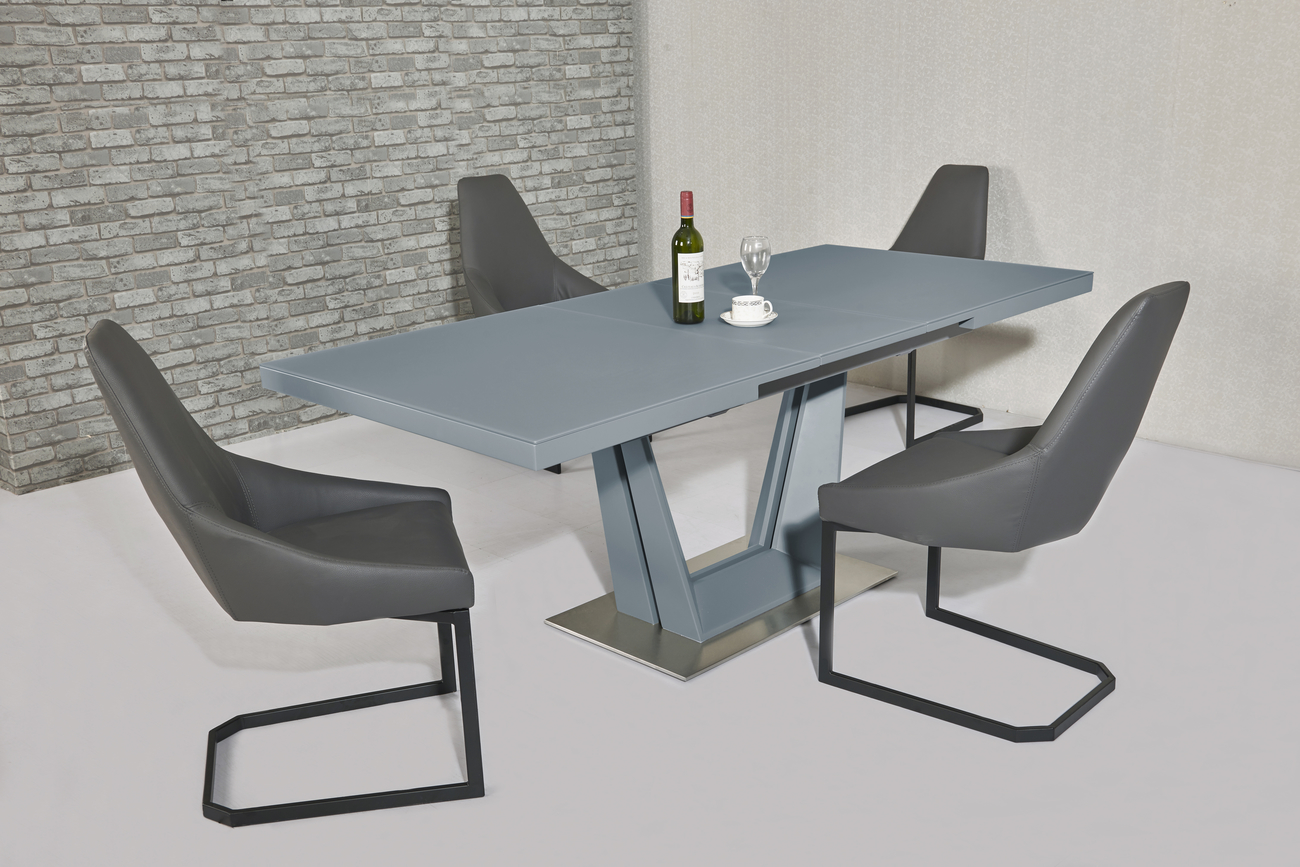 Serena Grey EXT Table DTX-6629GR & Avanti Grey PU Chair CH-812GR