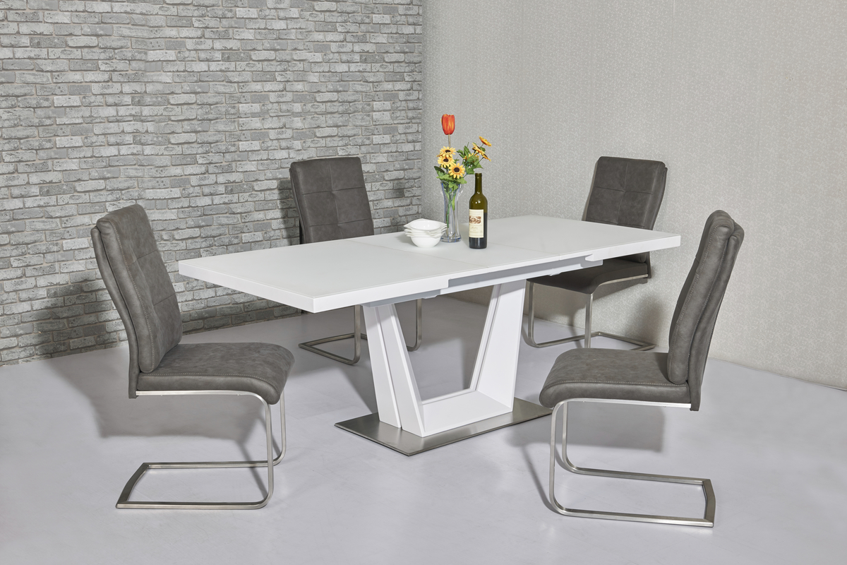 Serena White EXT Table DTX-6629WH & Antonio Grey Chair CH-715GR