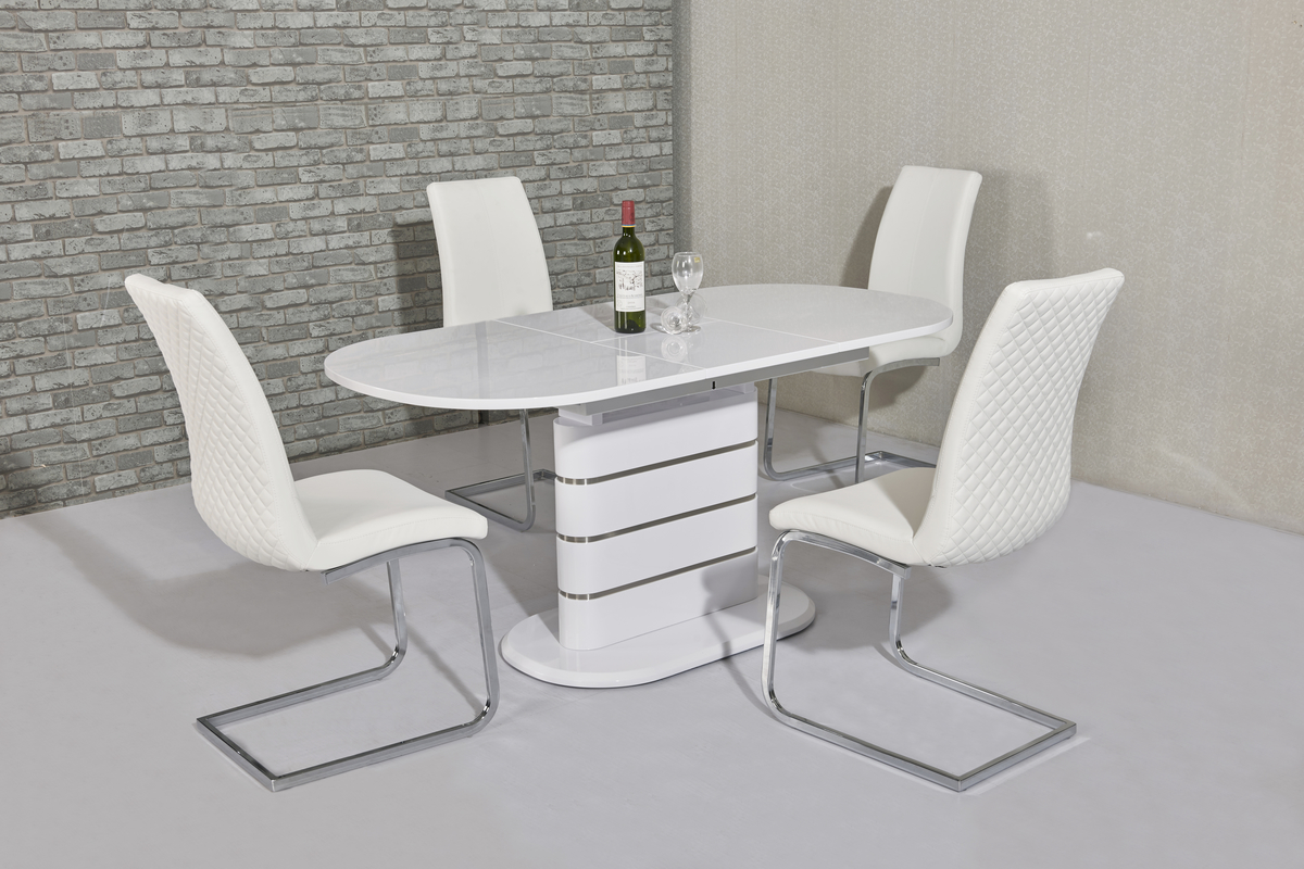 Thalia White EXT Table DTX-5215WH or DTX-6216WH & Kelcy White Chair CH-998WH