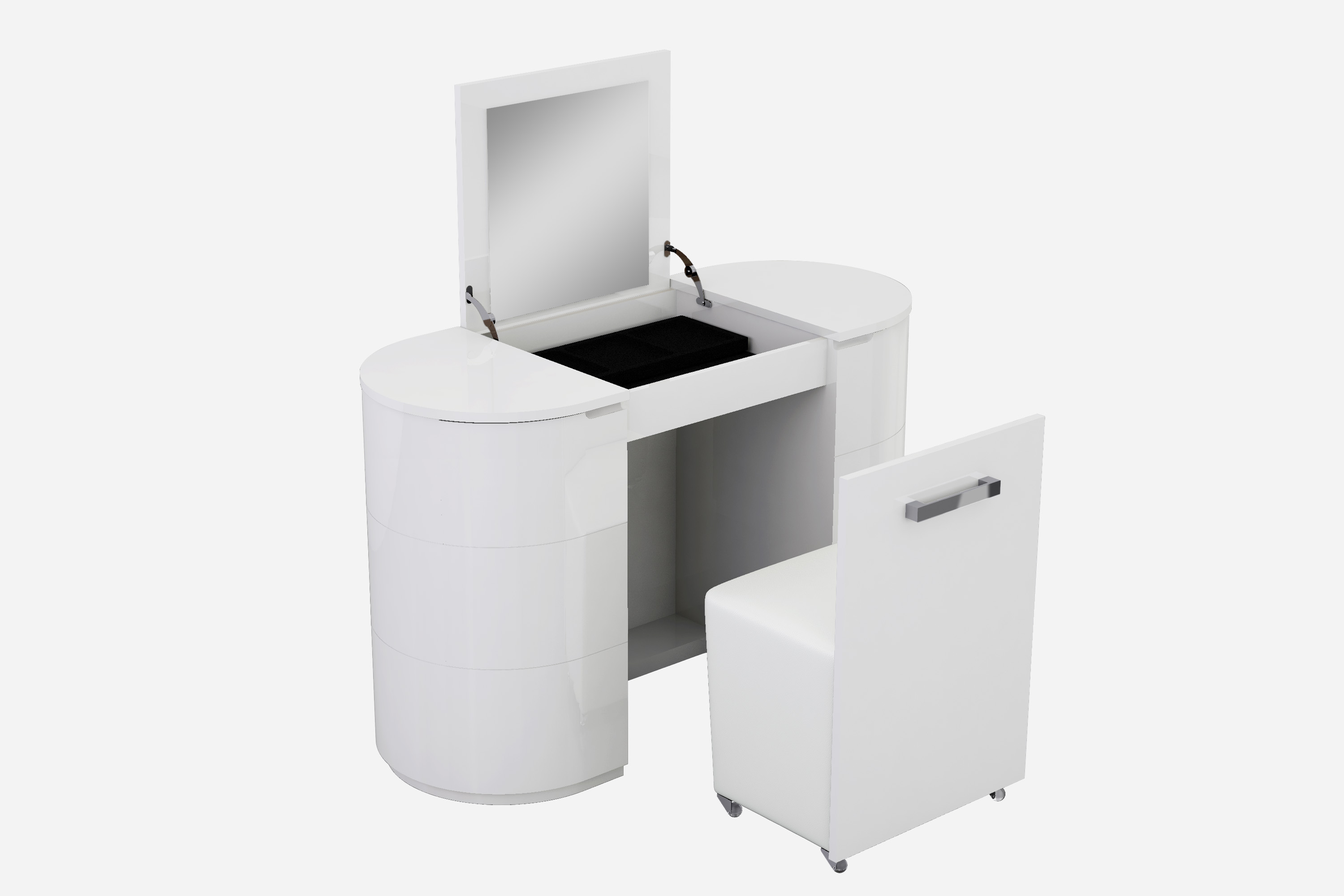 White Vanity unit open