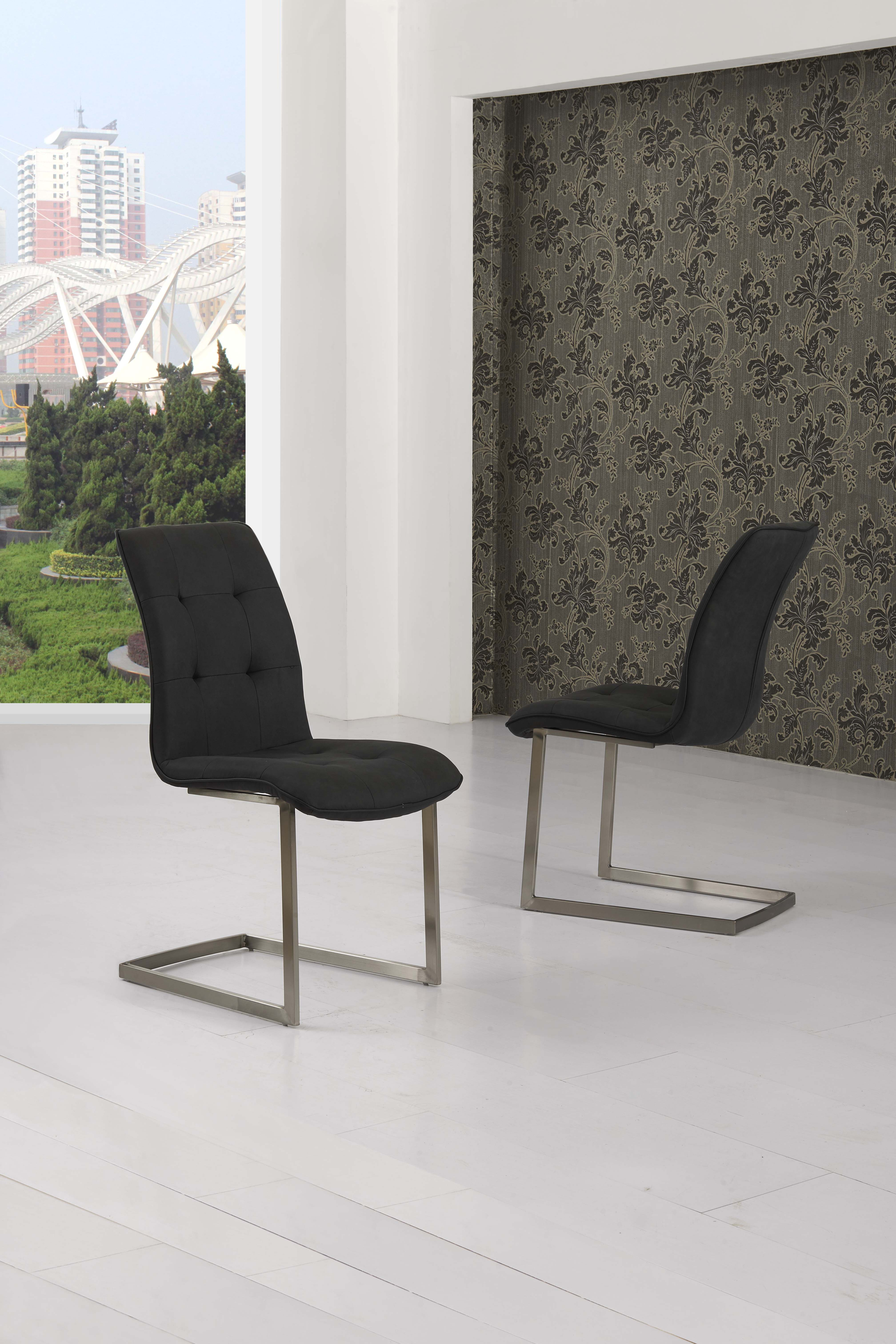 Zanetti Suede Effect Black Fabric Dining Chairs Modish