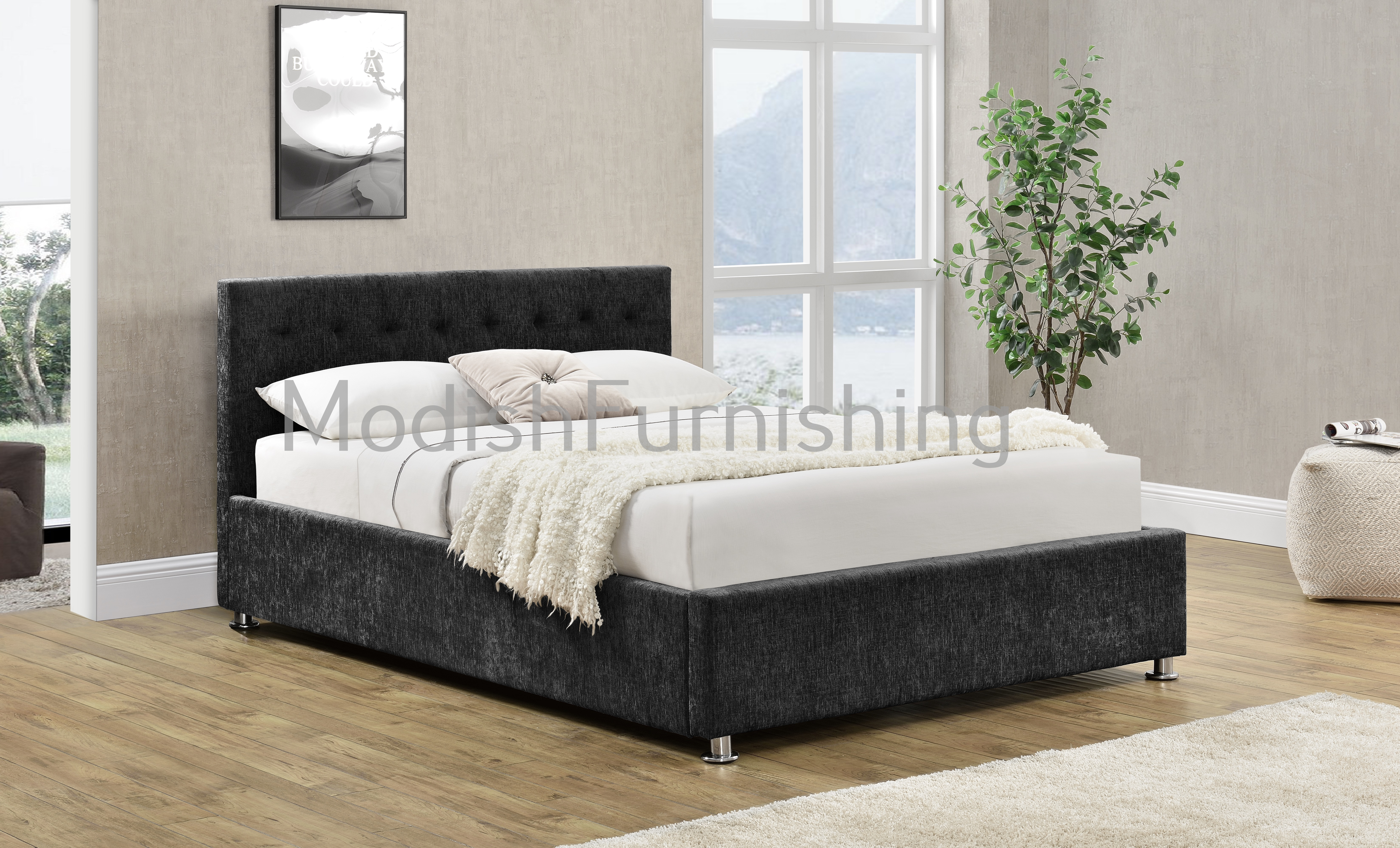 Charcoal Chenille Chesterfield Bed With Ottoman Storage
