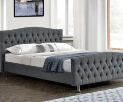 dark grey linen bed