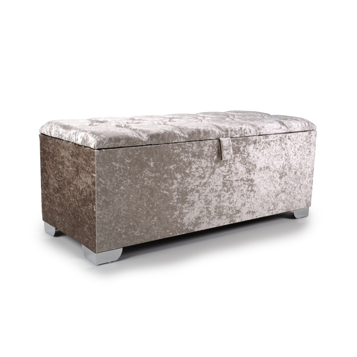 4ft mink quilted crystal ottoman