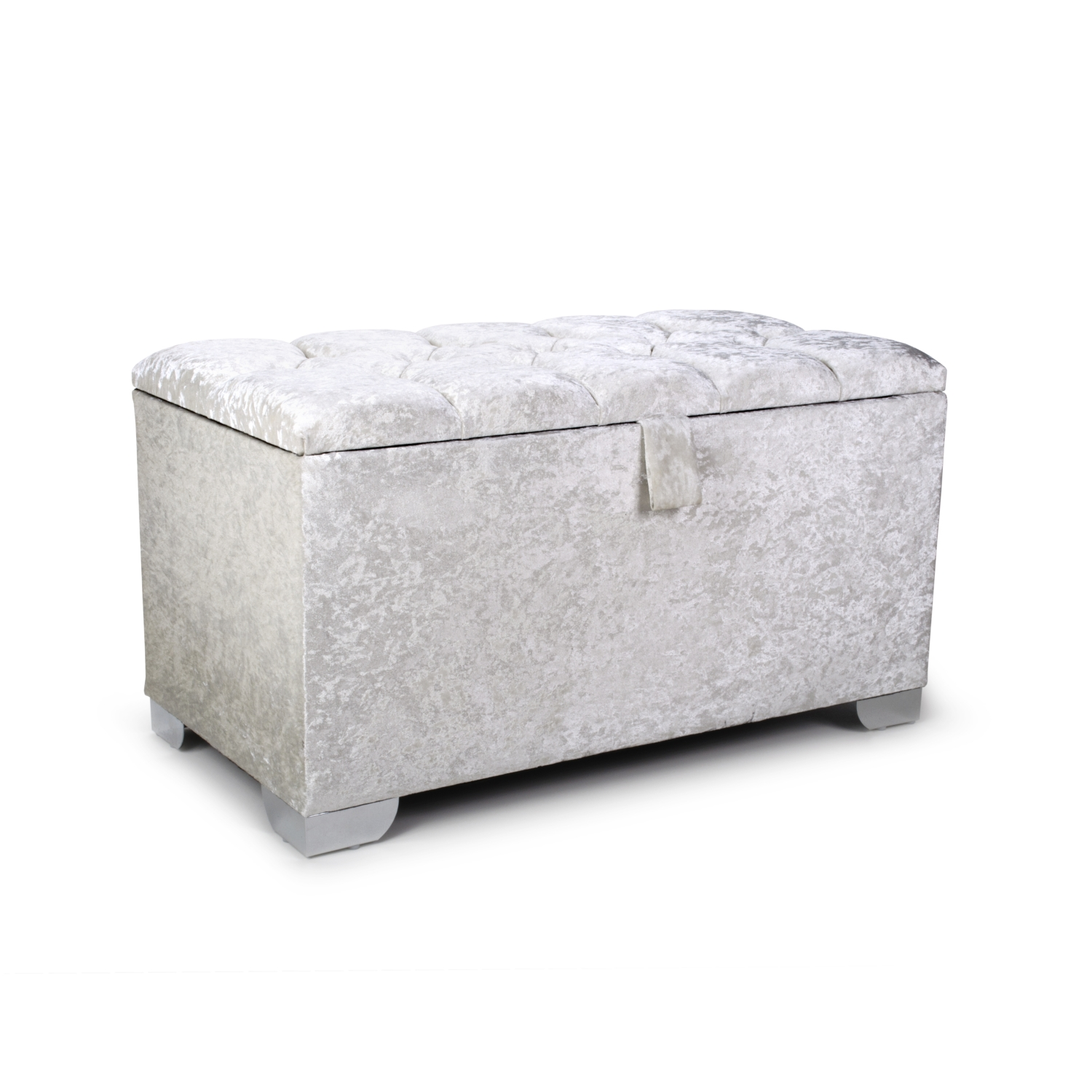 Small 3ft Pearl Crushed Velvet Quilted Crystal Buttoned Ottoman