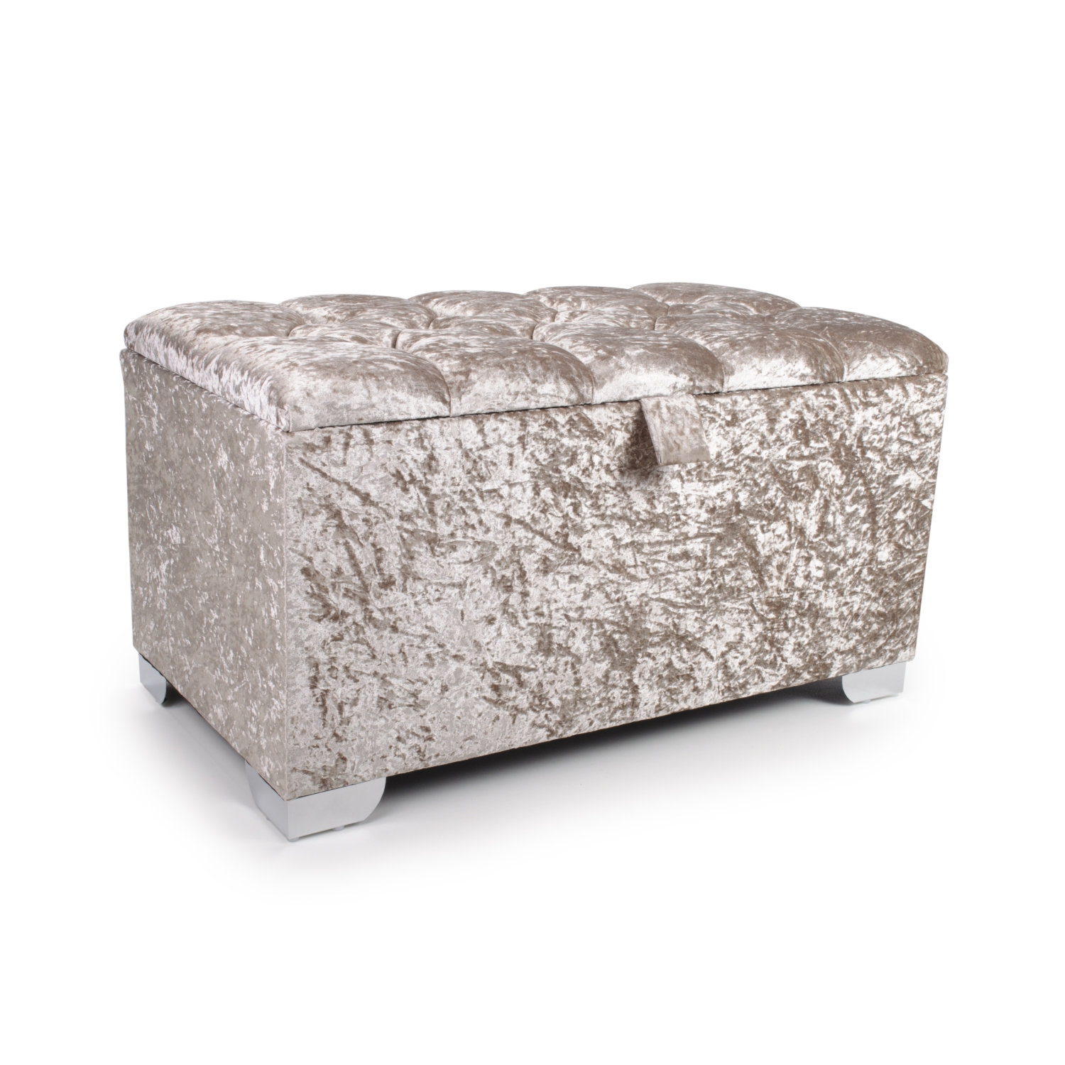Small 3ft Mink Crushed Velvet Quilted Crystal Buttoned Ottoman