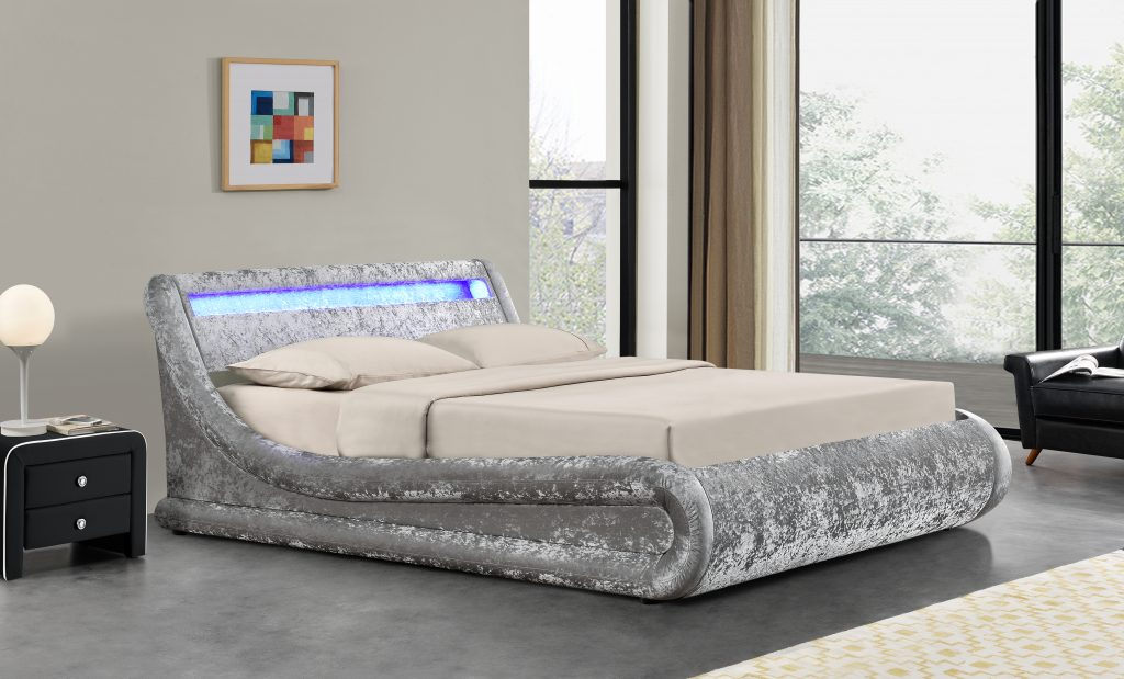 Madrid Silver Crushed Velvet Ottoman Storage Bed With Led