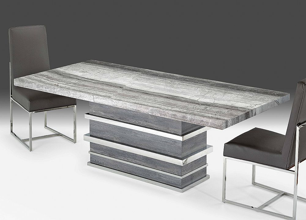 Stone International Saturn Midnight Grey Marble Dining Table