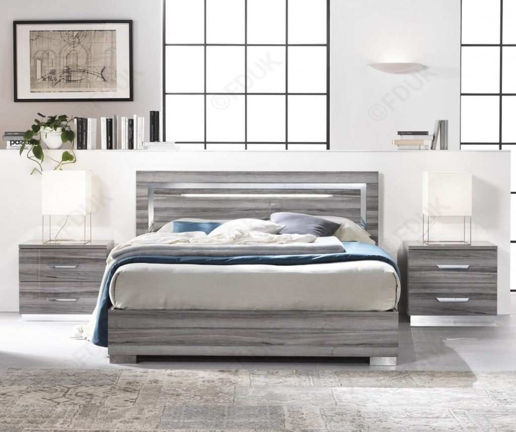 beverley bed san martino italian furniture wood effect high gloss bed LED light
