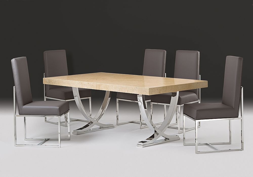 Stone International Deco Travertine Dining Table With