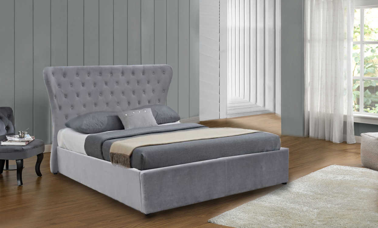 Cleo Butterfly Bed In Light Grey Plush Velvet Free Delivery