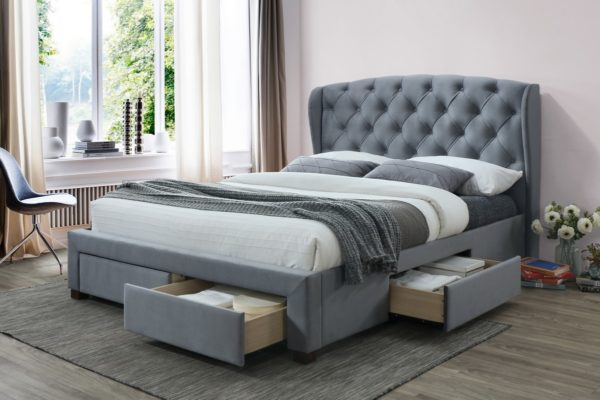 Hope Grey Velvet Fabric Wingback Bed With Under Bed Storage