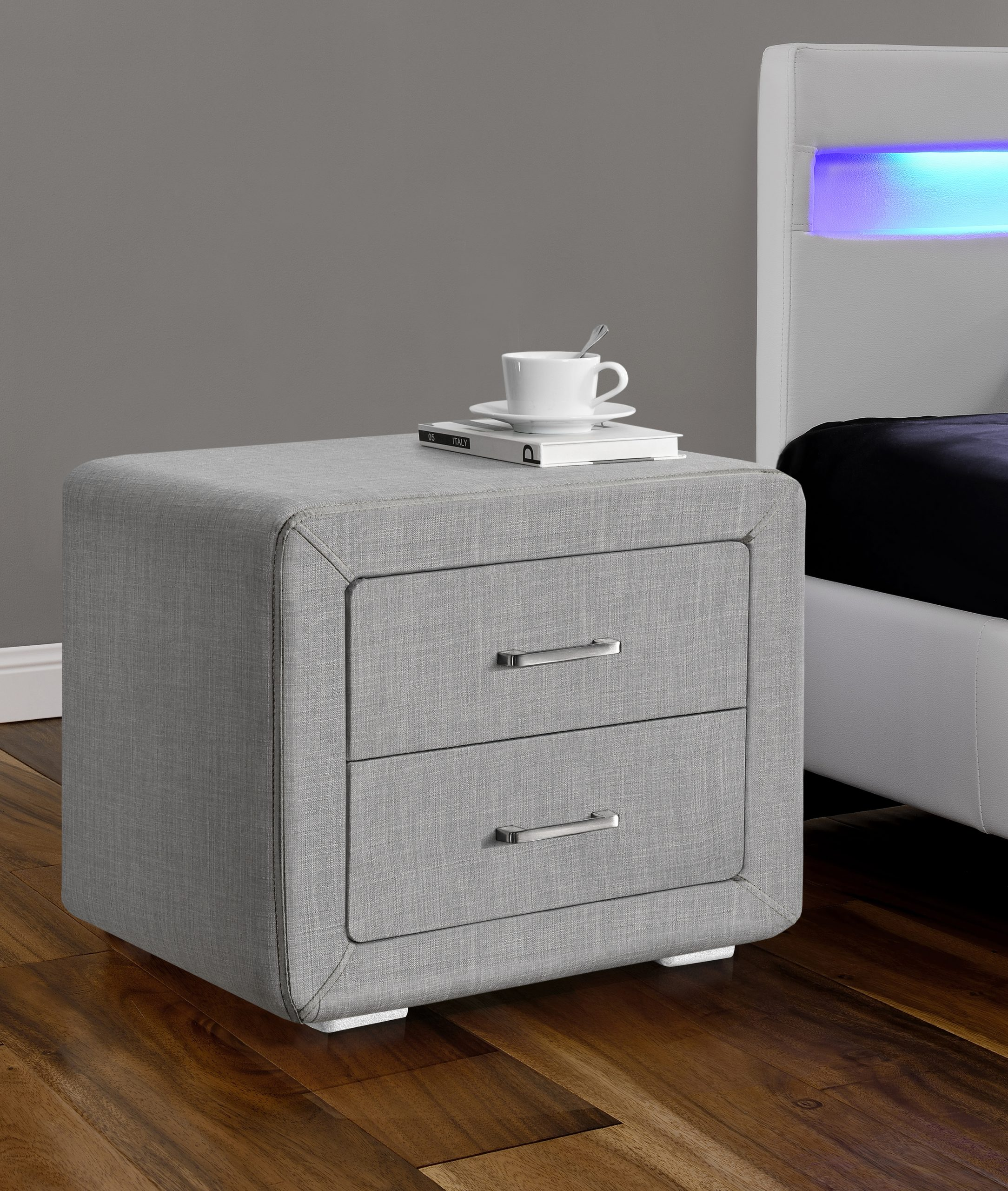Two Drawer Bedside Table In Linen Light Grey Fabric Modish Furnishing