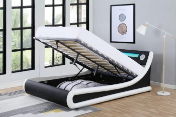 Madrid Black Amp White Leather Ottoman Storage Bed With Led
