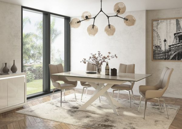 luxor extending dining table spinello chairs