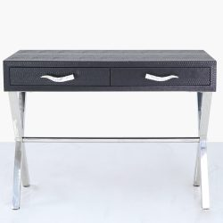 black console table two drawers snakeskin leather
