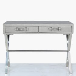 faux leather console table with two drawers