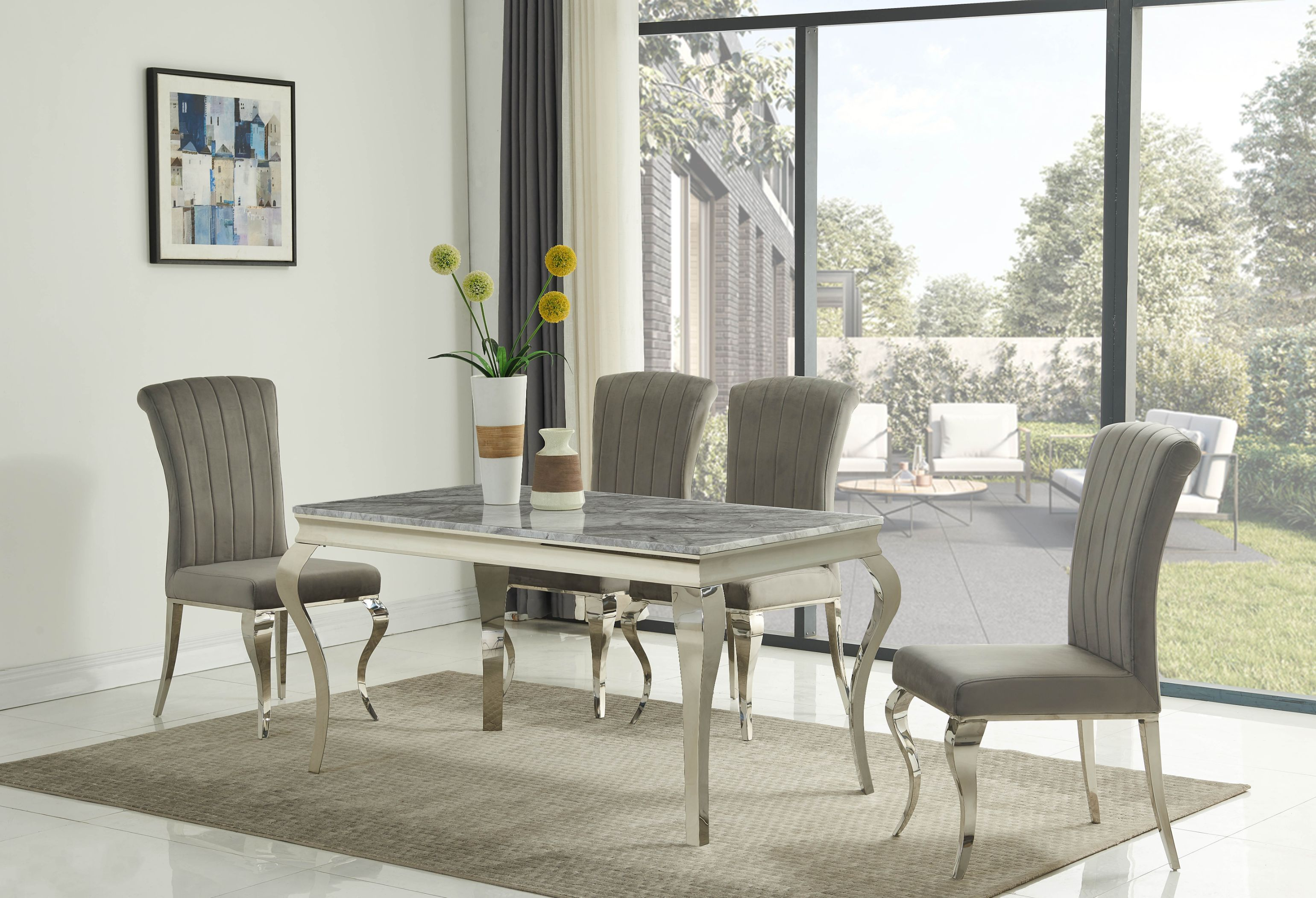 Liyana GREY Small 140cm Table DT-800GR & Liyana Grey Chairs CH-891GR
