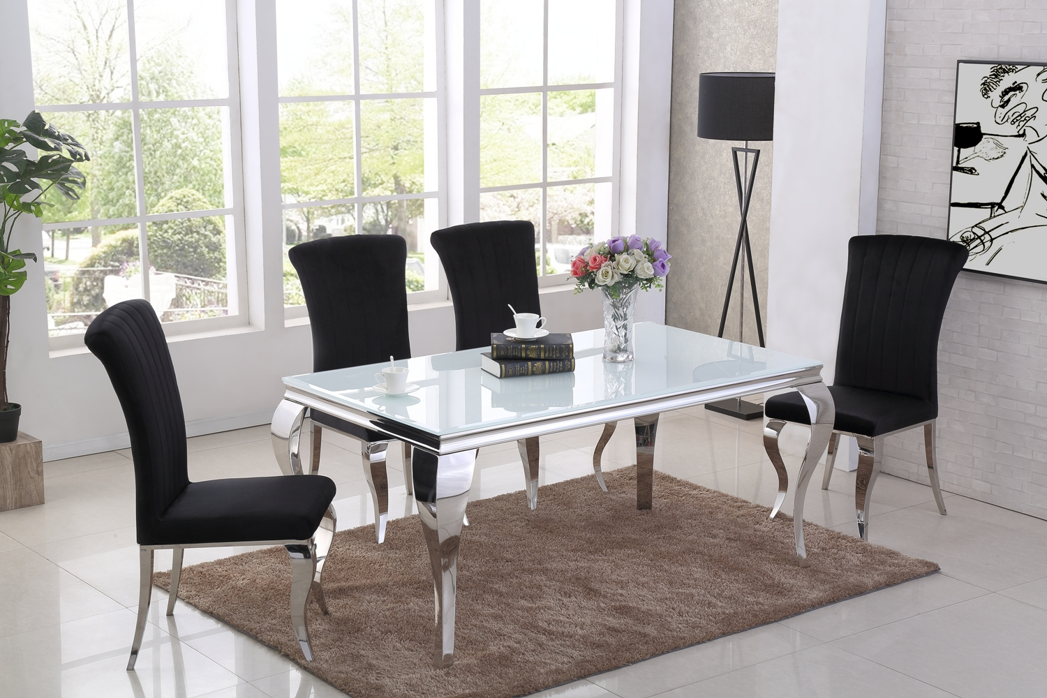 Liyana White Dining Table DT-840WH & Liyana Black Chair CH-891BL