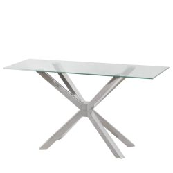 Clear glass console table with a cross frame base design