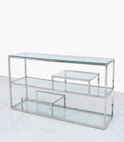clear glass console table with tiered shelves