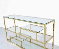 glass console table with gold frame and shelves