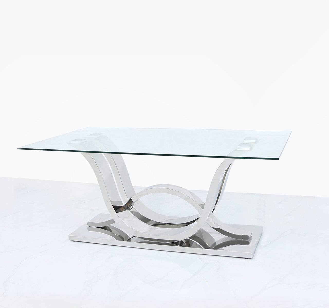 clear glass coffee table stainless steel base