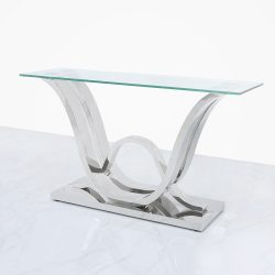 Clear glass console table with interlocking base design