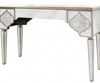 3 drawer mirror console table featuring mirrored panels and champagne trimmed edges