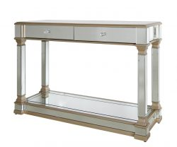 Mirrored console table with two drawres and gold trims