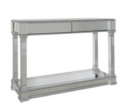 Mirrored console table with two drawres and silver trims