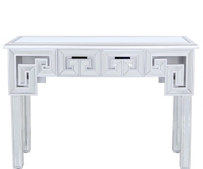 Silver console table with a mirrored design, silver trims