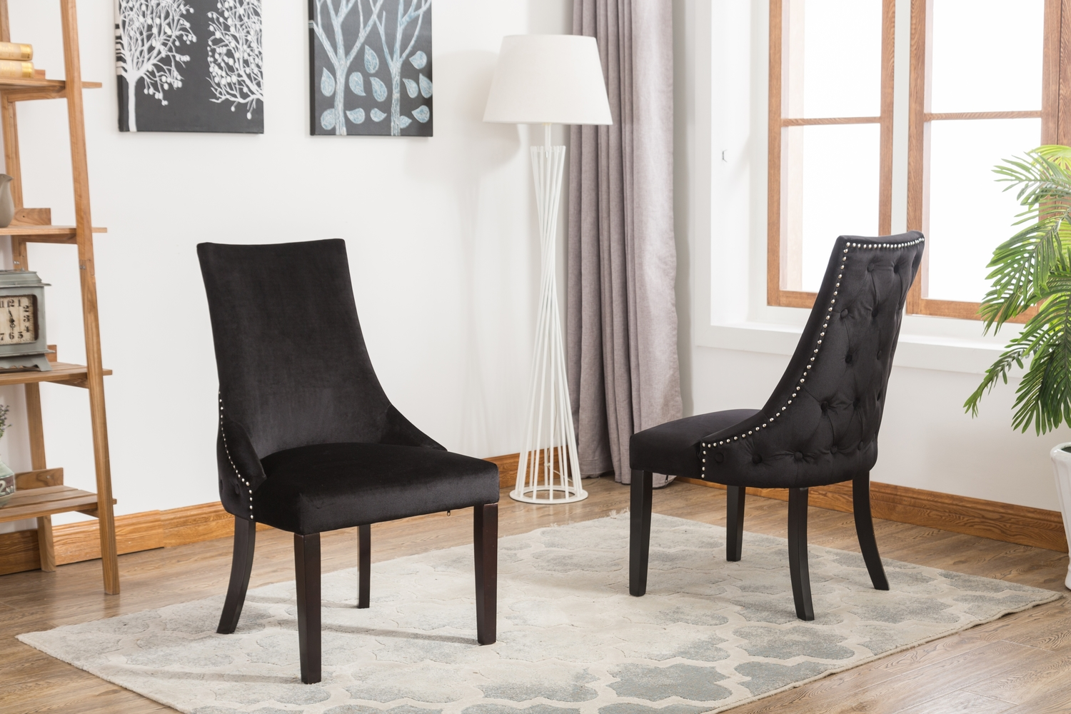 Black fabric button back dining chair
